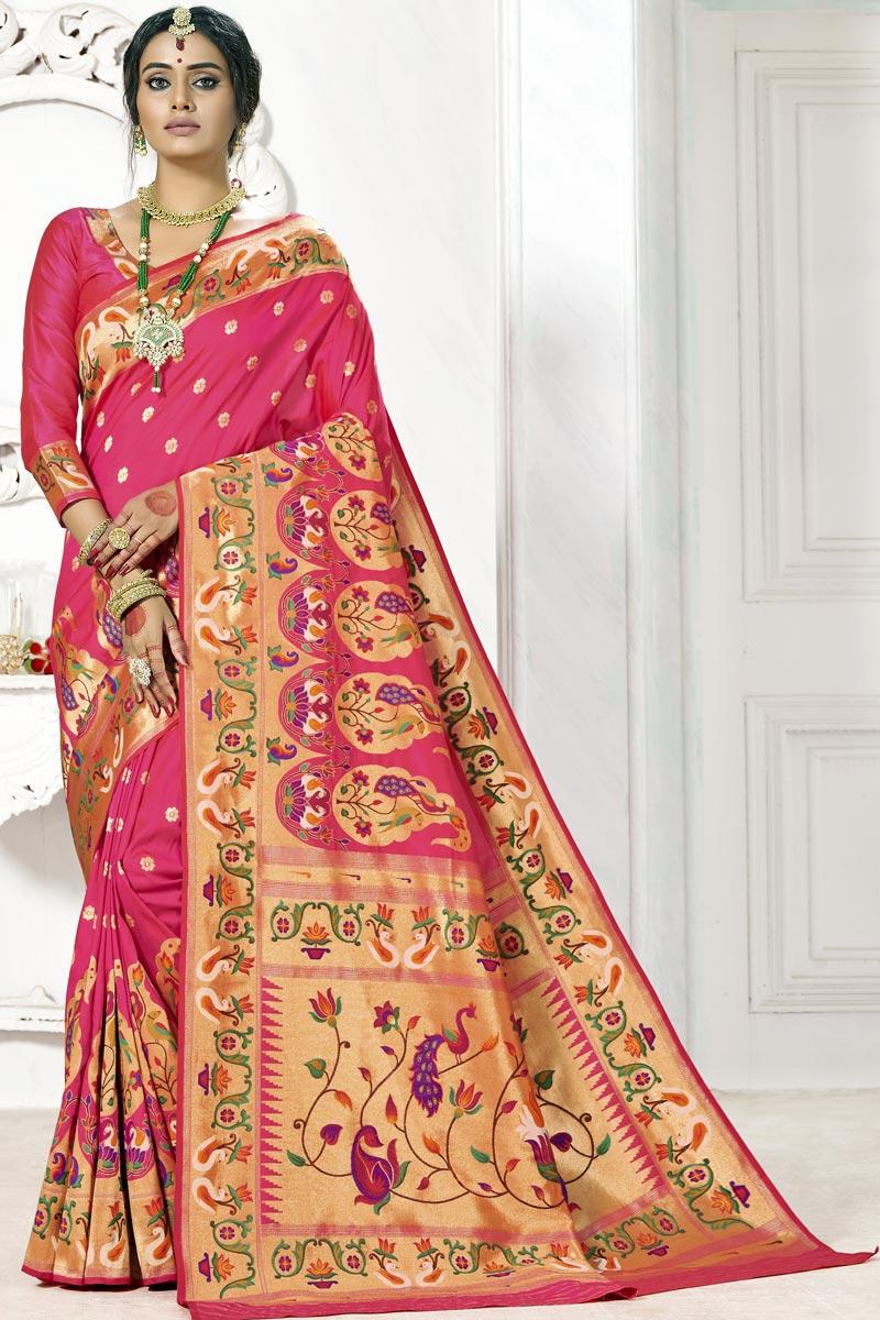 Wedding Wear Paithani Silk Pink Color Weaving Work Saree