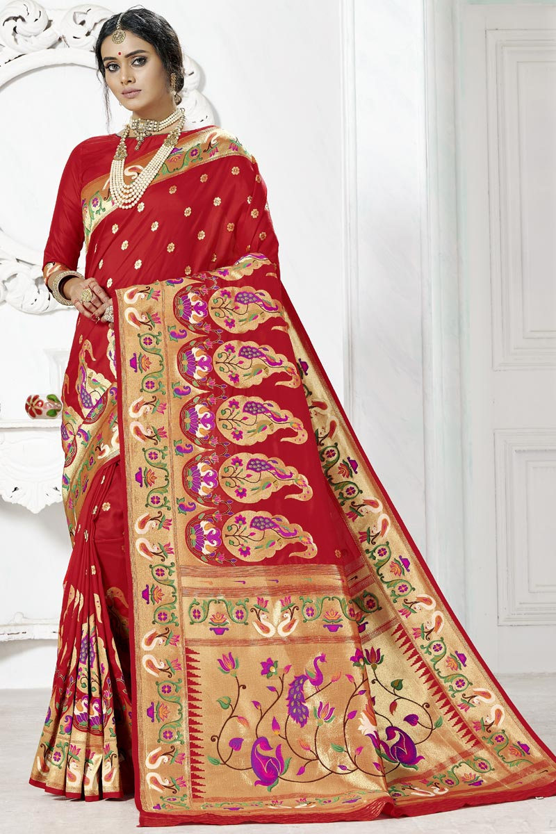 Paithani Silk Weaving Work Saree In Red Color For Wedding