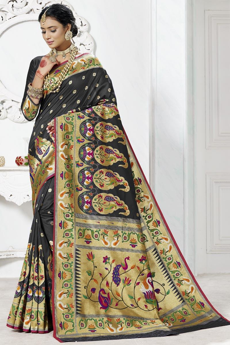 Black Color Function Wear Weaving Work Paithani Silk Saree