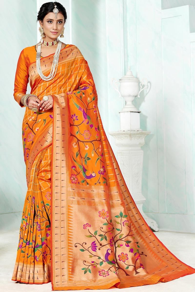 Paithani Silk Mustard Color Weaving Work Saree For Festival