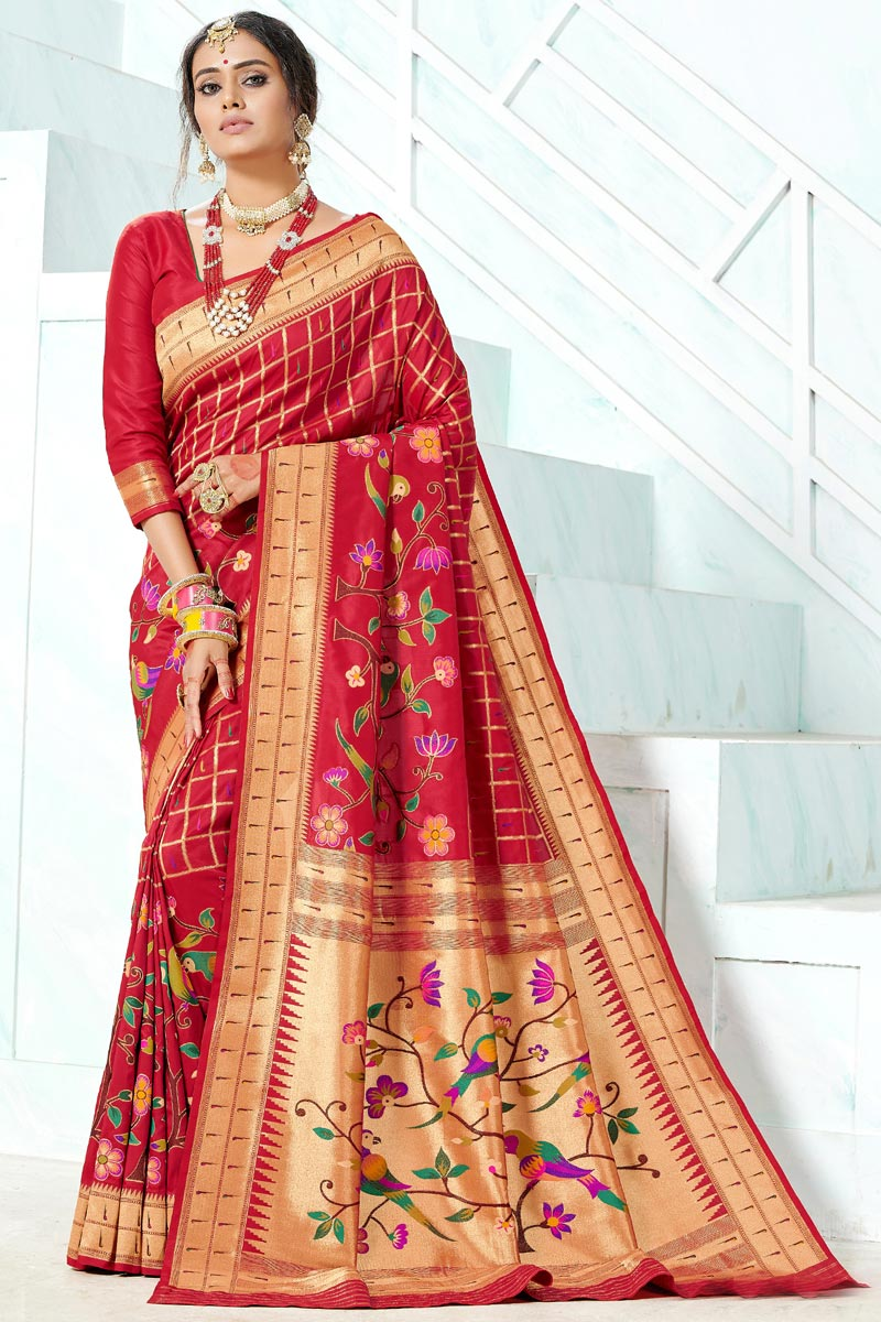 Function Wear Paithani Maroon Color South Indian Style Saree
