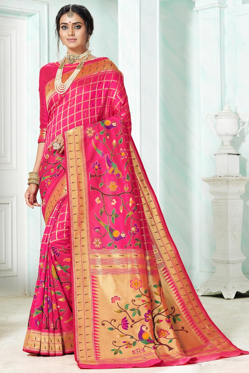 Function Wear Rani Color Paithani Silk Saree With Weaving Work