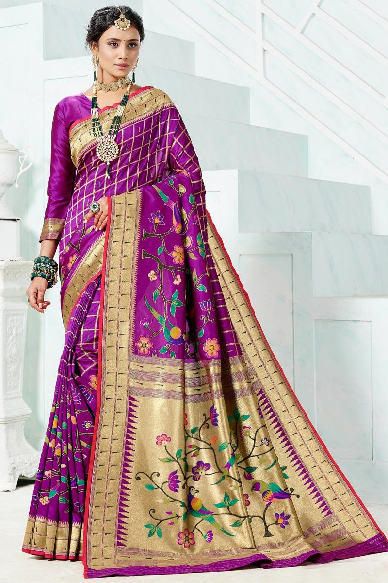Wedding Wear Paithani Silk Purple Color Weaving Work Saree