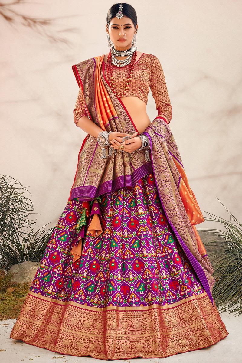 Purple Color Silk Fabric Sangeet Wear Designer Lehenga Choli