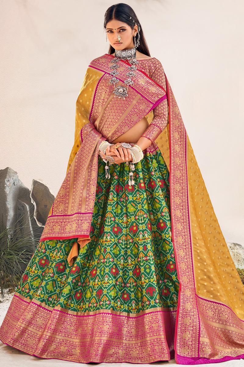 Green Color Silk Fabric Reception Wear Designer Lehenga Choli