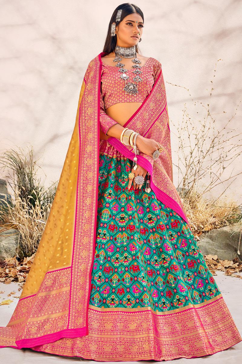 Cyan Color Silk Fabric Sangeet Wear Designer Lehenga Choli