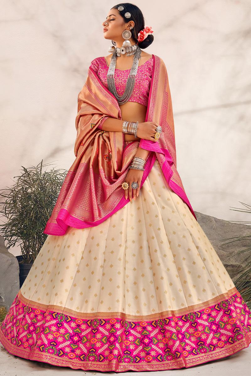 Beige Color Silk Fabric Wedding Wear Designer Lehenga Choli