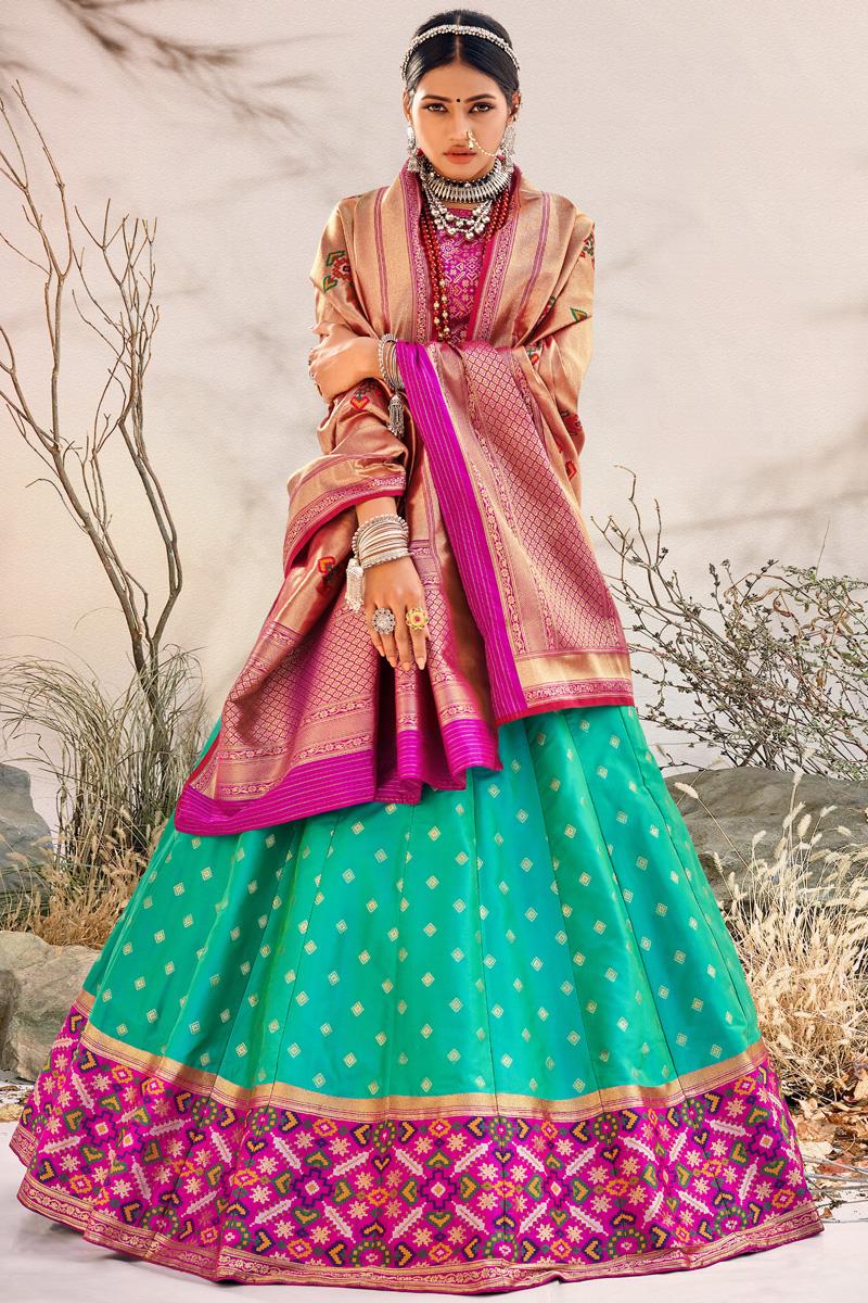 Cyan Color Silk Fabric Reception Wear Designer Lehenga Choli