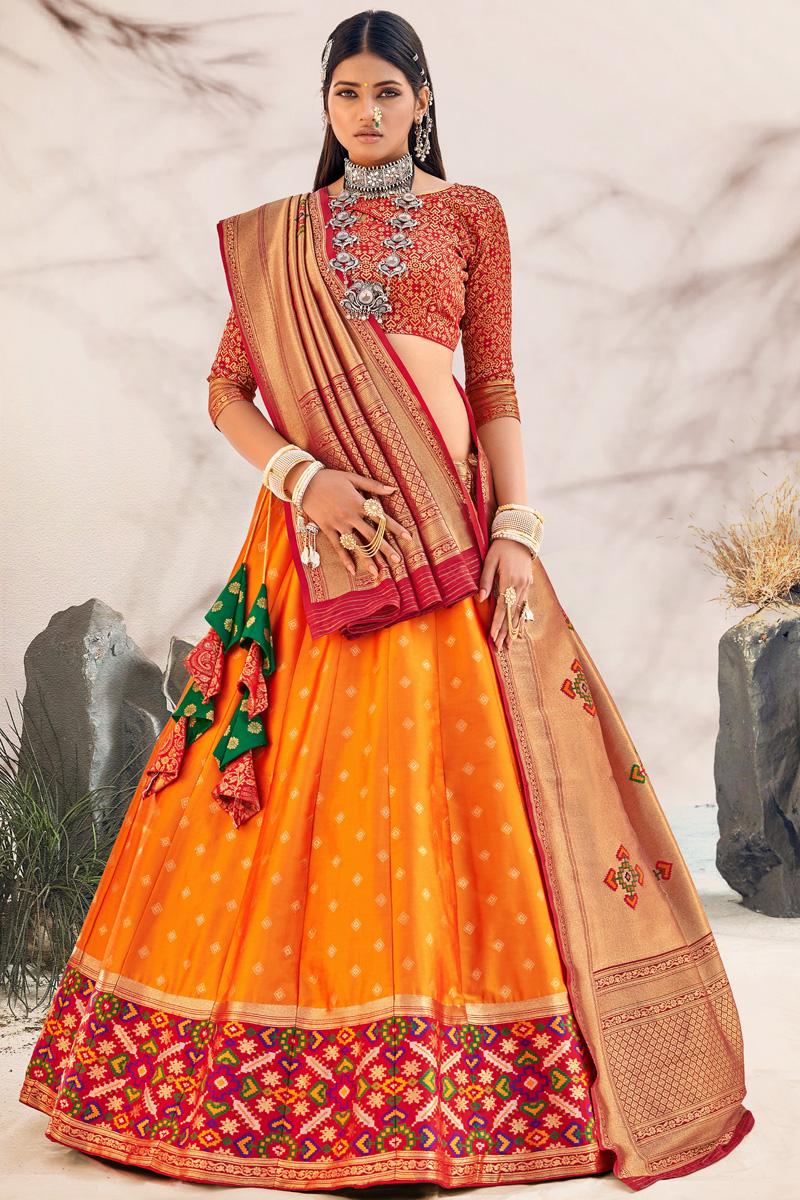 Orange Color Silk Fabric Sangeet Wear Designer Lehenga Choli