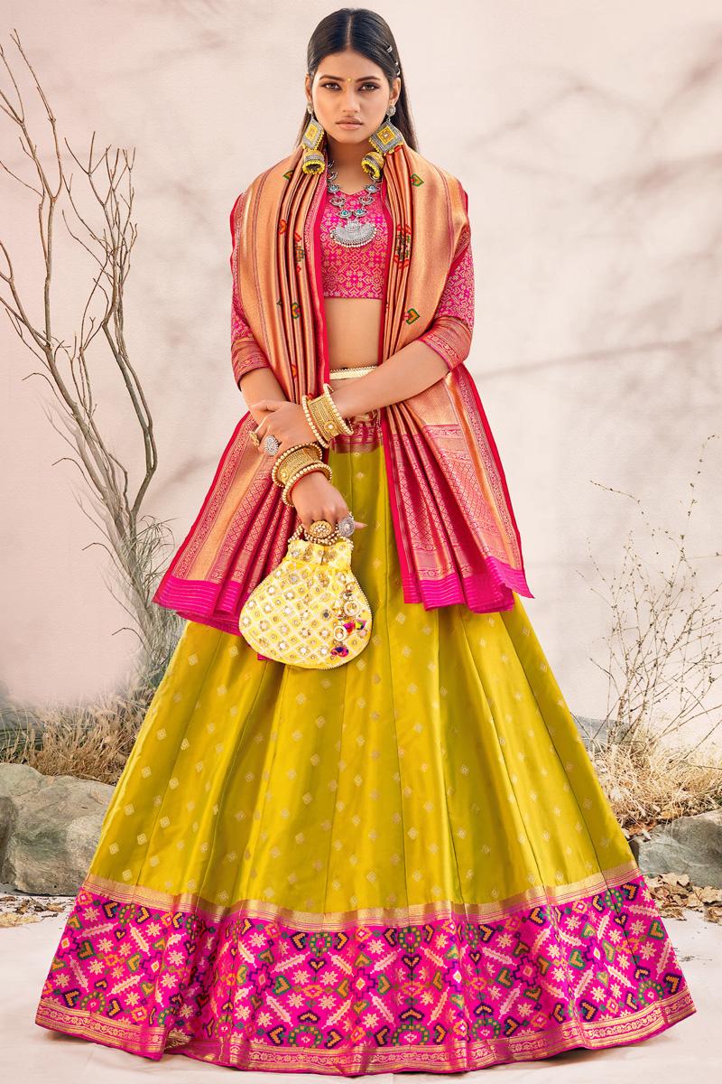 Yellow Color Silk Fabric Wedding Wear Designer Lehenga Choli