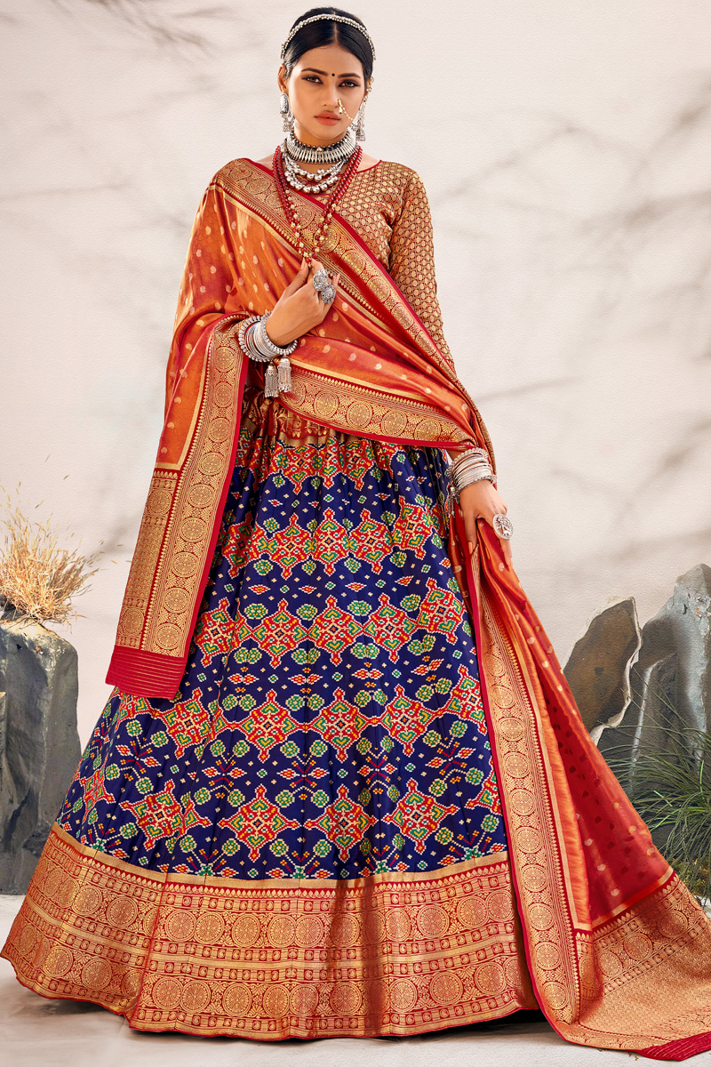 Navy Blue Color Silk Fabric Sangeet Wear Designer Lehenga Choli