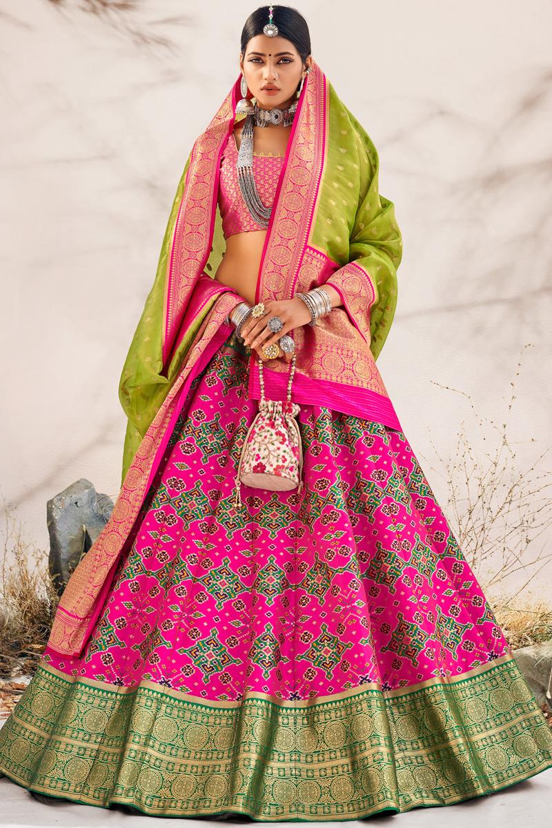 Magenta Color Silk Fabric Wedding Wear Designer Lehenga Choli