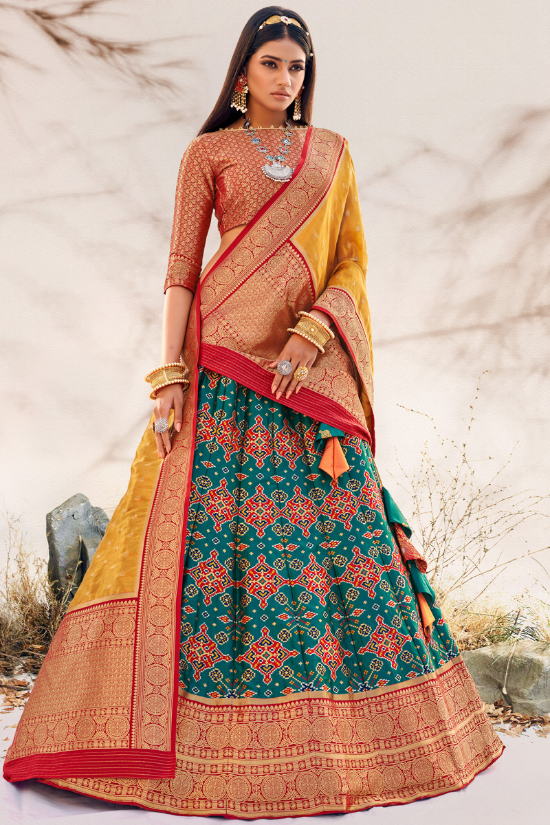 Teal Color Silk Fabric Reception Wear Designer Lehenga Choli