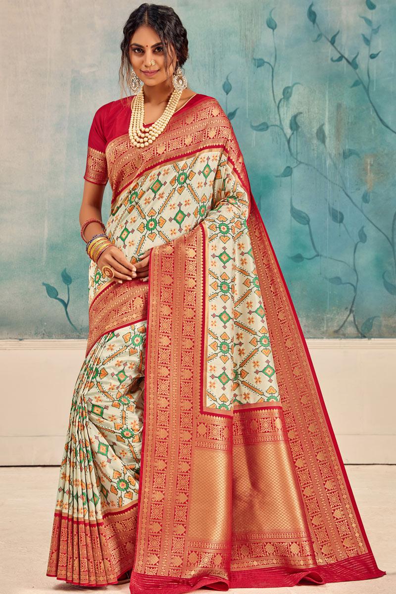 Silk Fabric Sangeet Wear Beige Color Weaving Work Saree