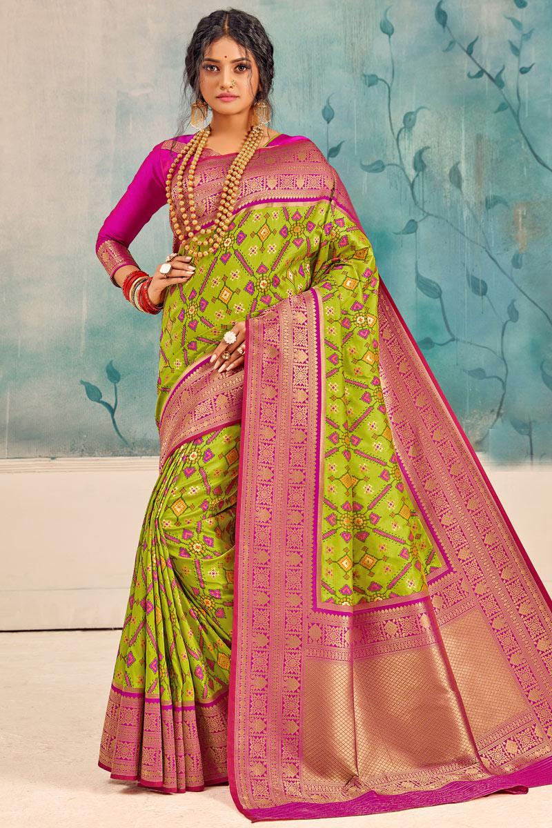 Sangeet Wear Green Color Weaving Work Saree