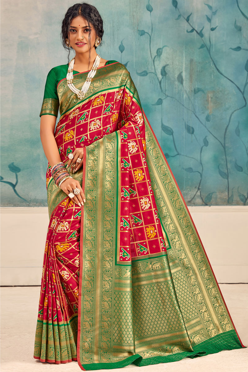 Sangeet Wear Silk Fabric Weaving Work Saree In Red Color