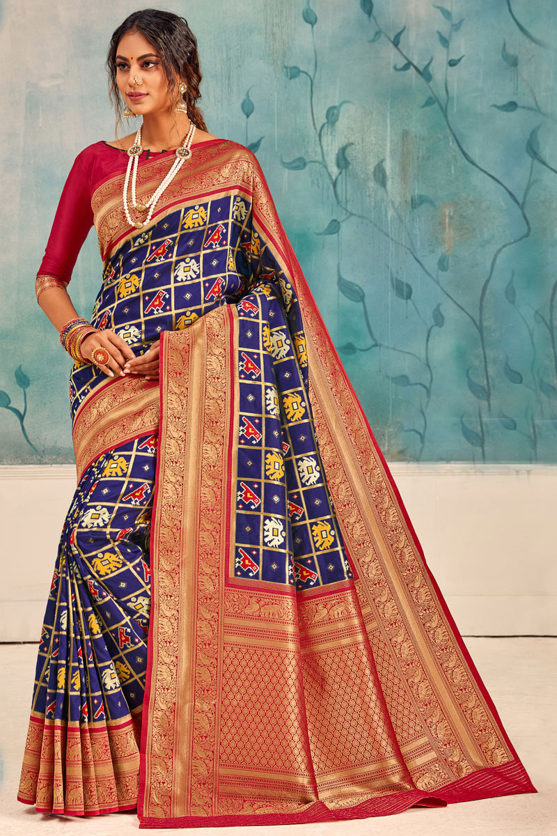 Silk Fabric Party Wear Saree In Blue Color