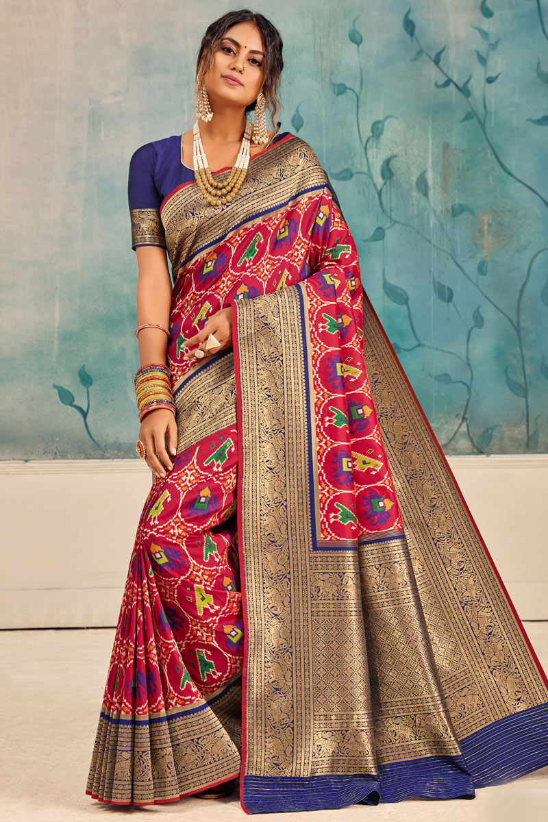 Dark Pink Color Traditional Saree In Silk Fabric
