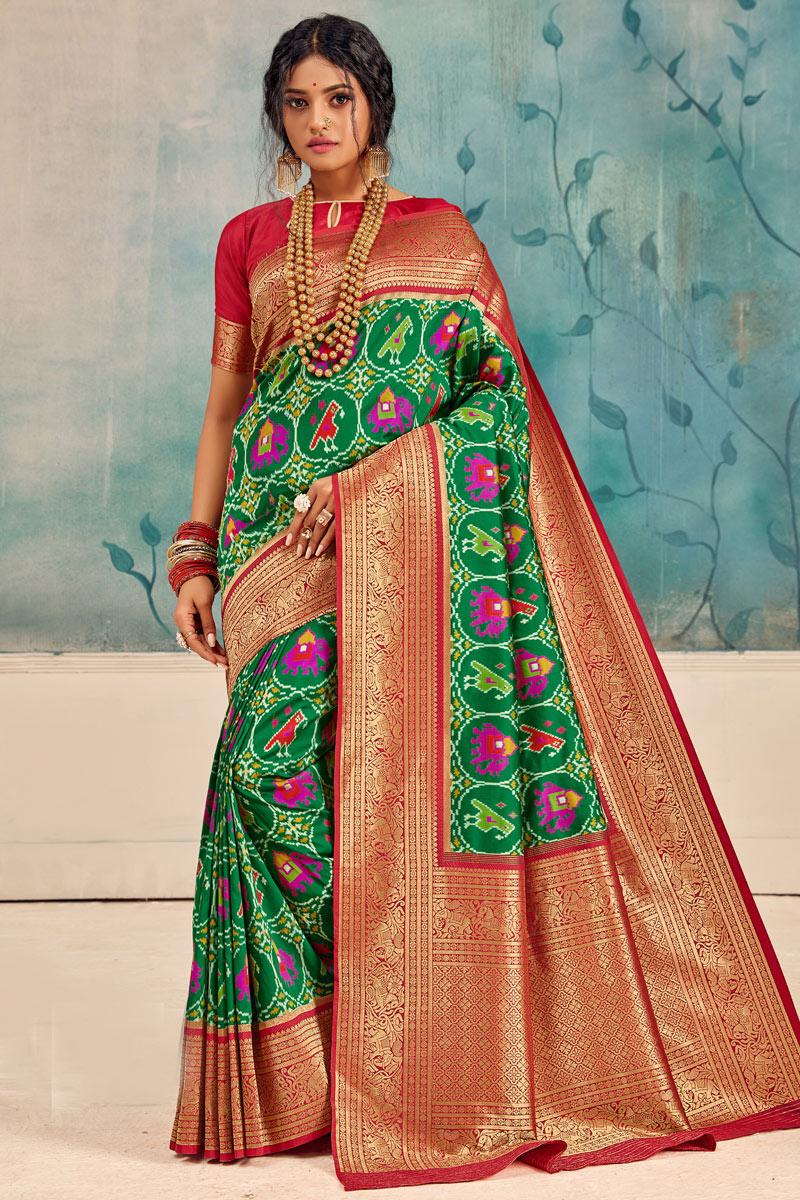 Green Color Silk Fabric Function Wear Saree