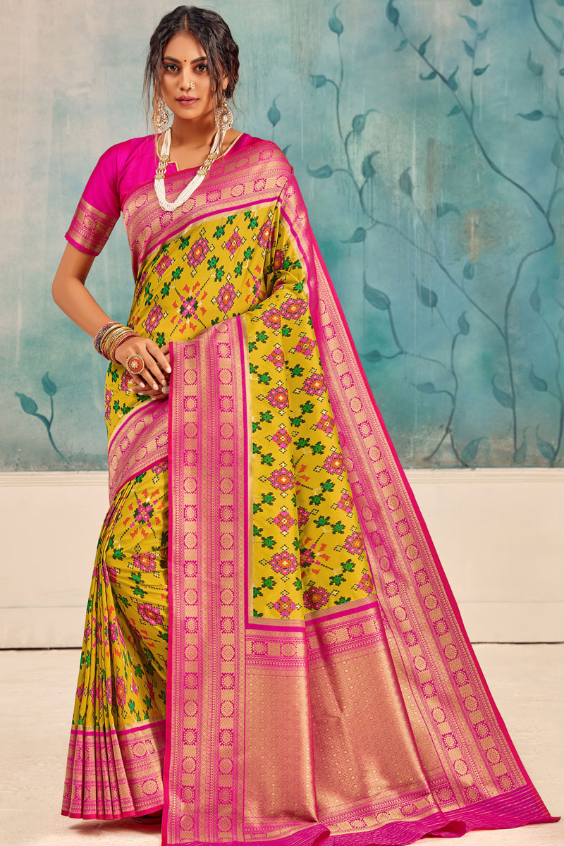 Yellow Color Party Wear Saree In Silk Fabric