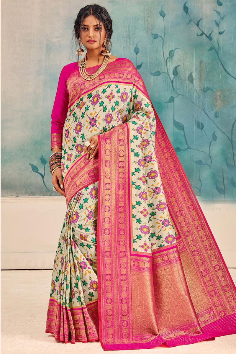 Silk Fabric Designer Saree In Beige Color