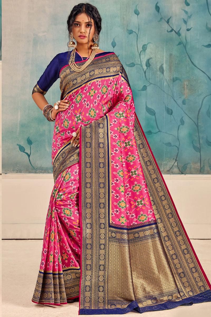 Pink Color Silk Fabric Occasion Wear Saree