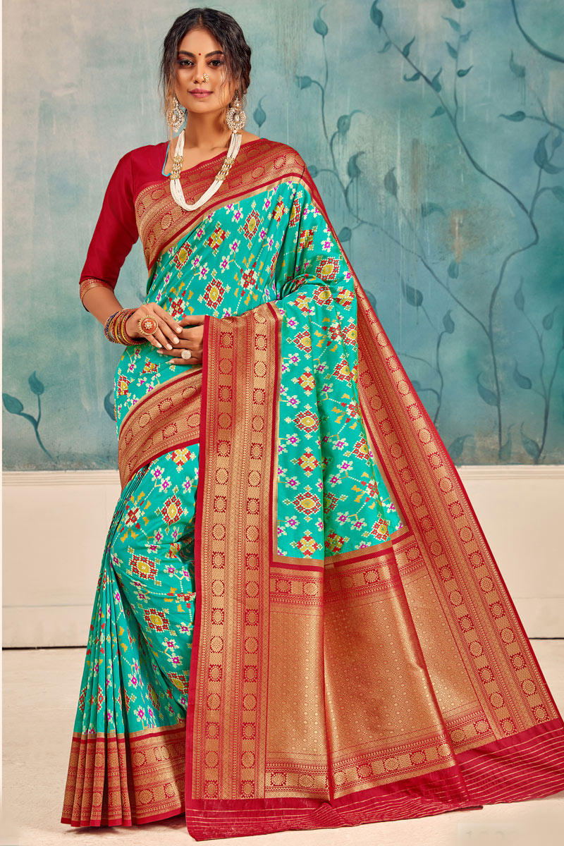 Function Wear Light Turquoise Color Saree In Silk Fabric