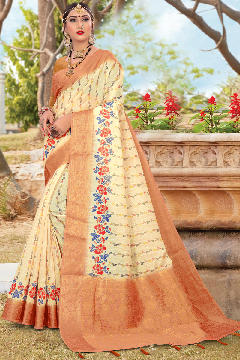 Beige Color Puja Wear Printed Saree In Cotton Fabric