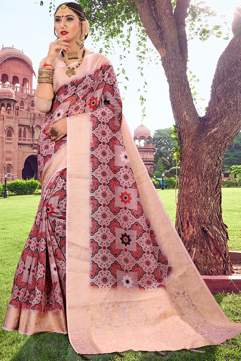 Pink Color Cotton Fabric Fancy Printed Daily Wear Saree