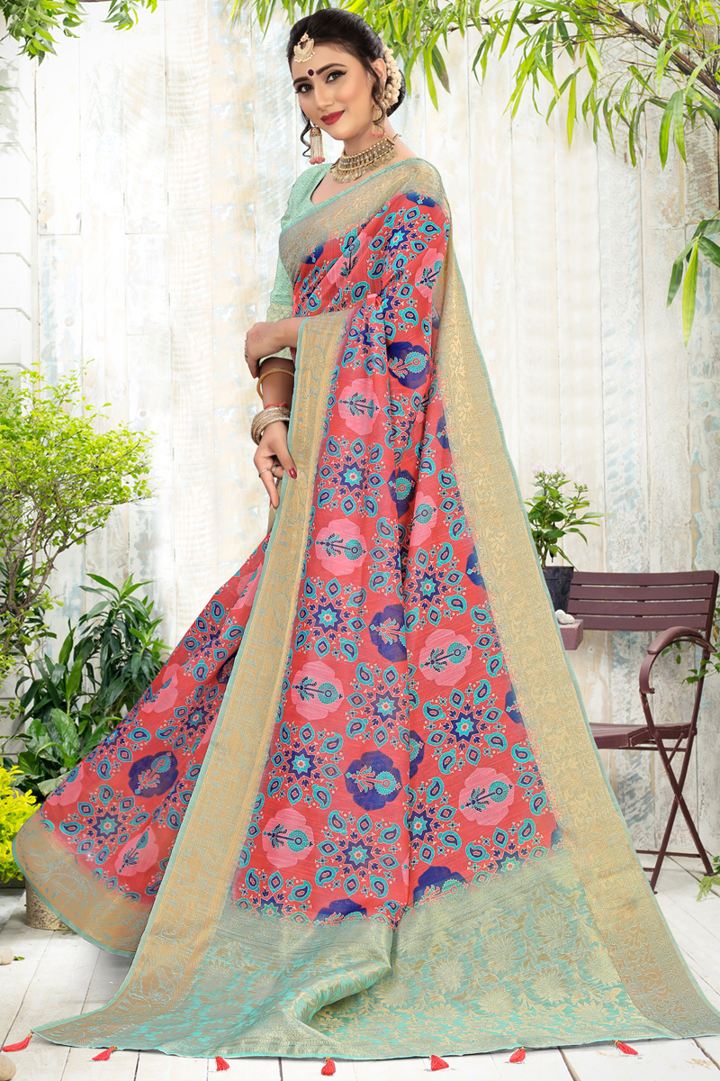Cotton Fabric Daily Wear Printed Saree In Pink Color