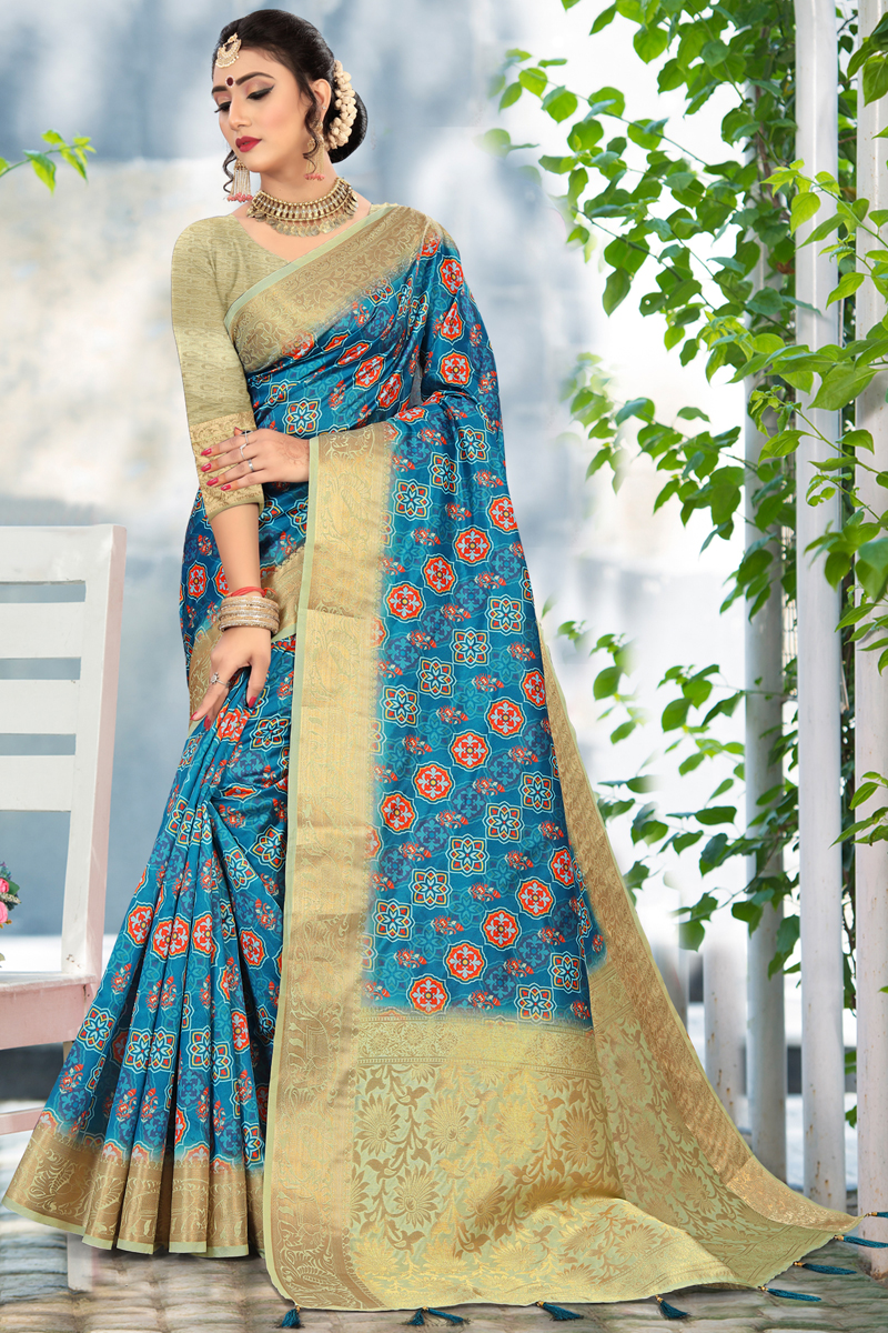 Sky Blue Color Casual Printed Saree In Cotton Fabric