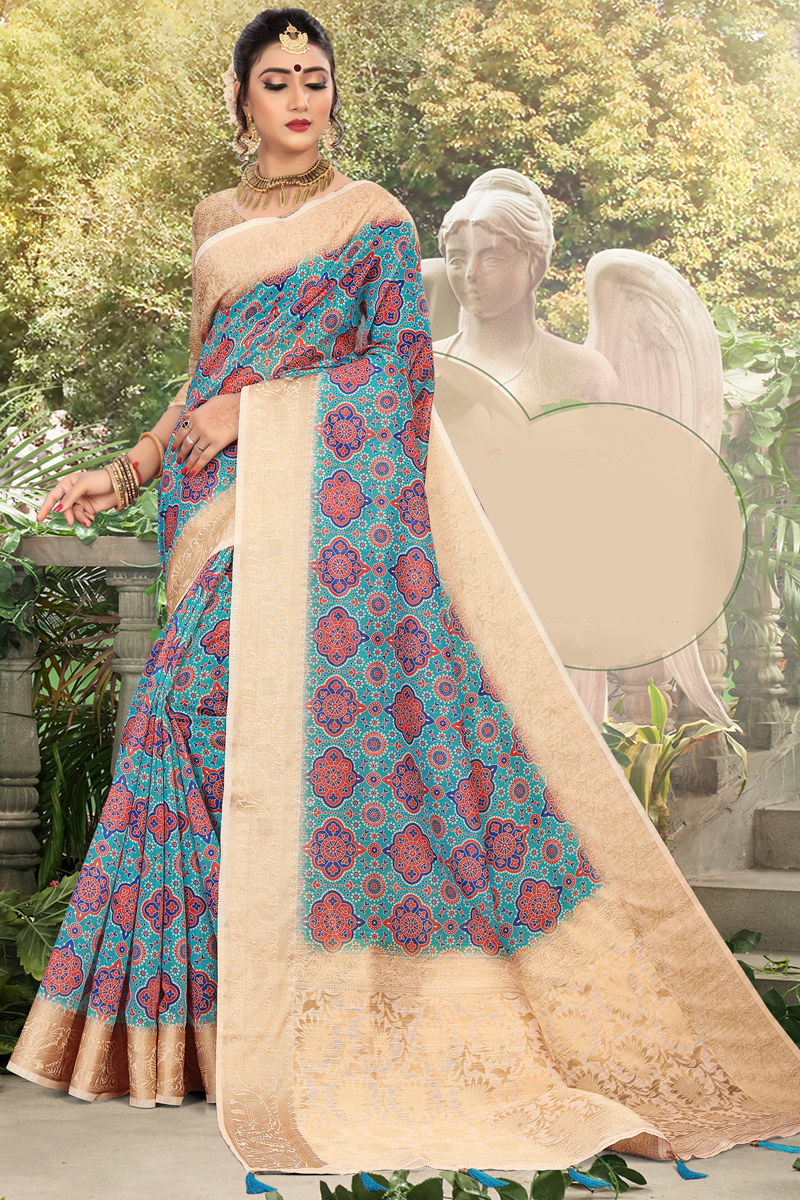 Cotton Fabric Cyan Color Daily Wear Printed Saree