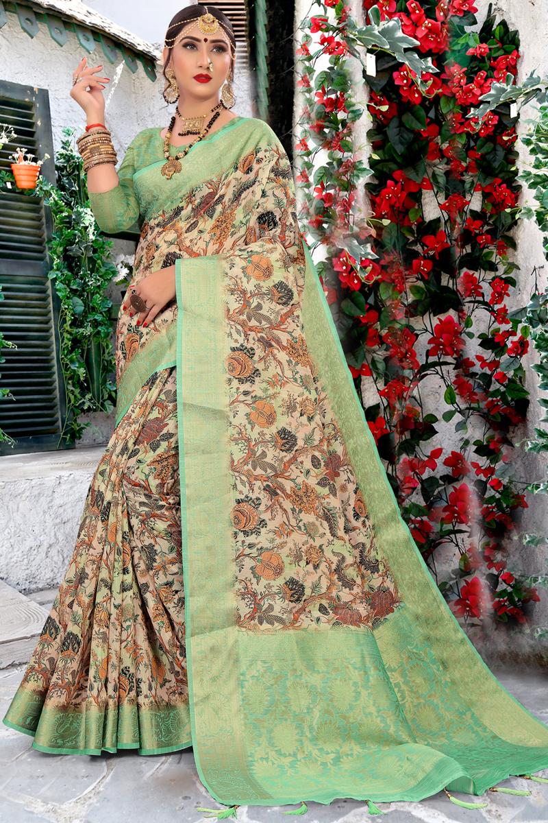 Cream Color Casual Wear Printed Saree In Cotton Fabric