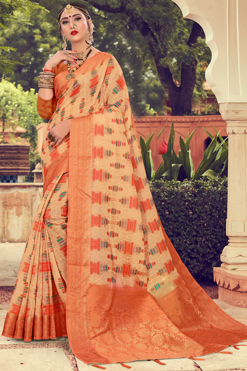 Fancy Cotton Fabric Orange Color Daily Wear Printed Saree