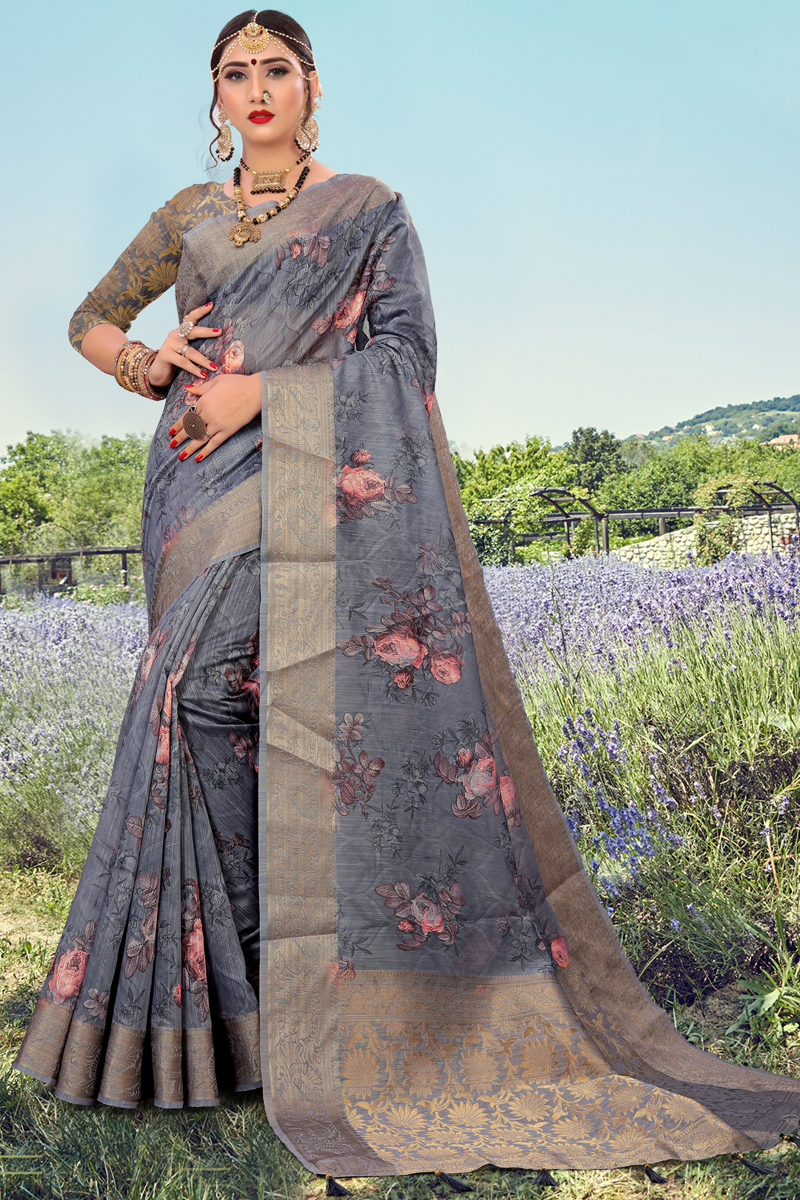 Fancy Cotton Fabric Grey Color Printed Daily Wear Saree