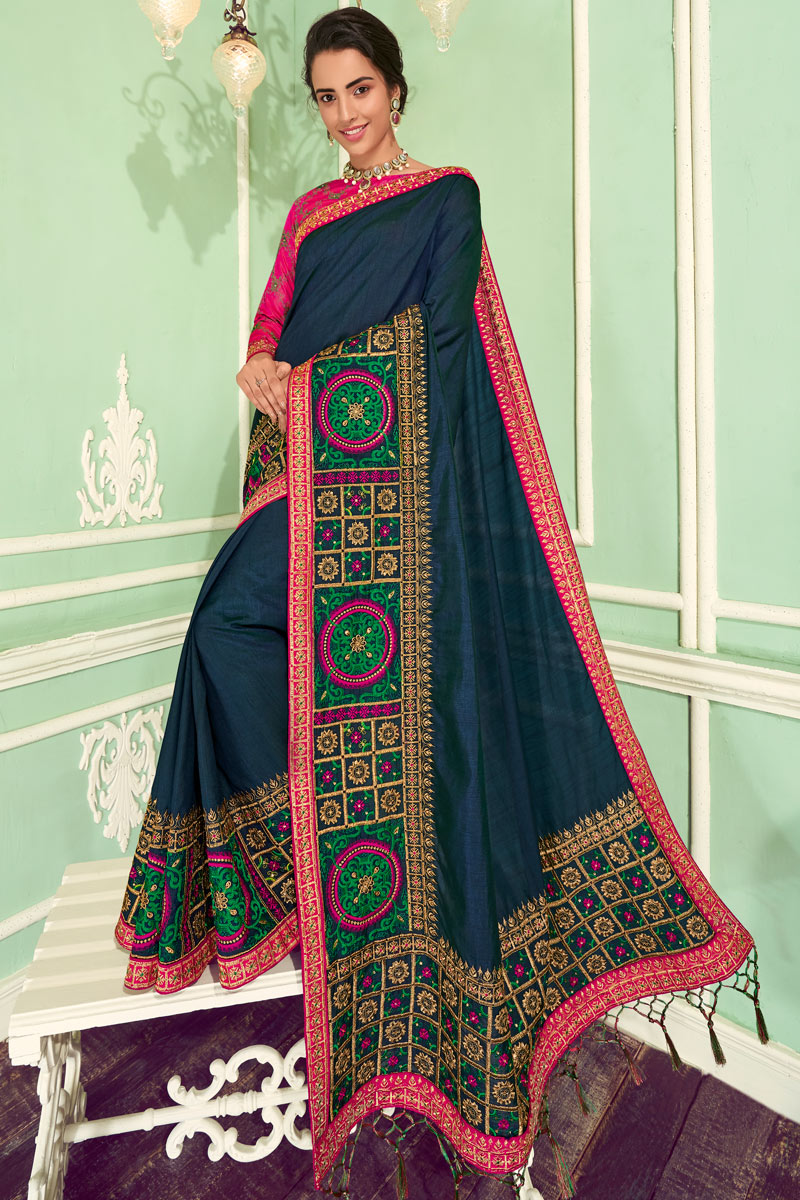 Eid Special Embroidery Work On Art Silk Navy Blue Color Function Wear Saree With Marvelous Blouse