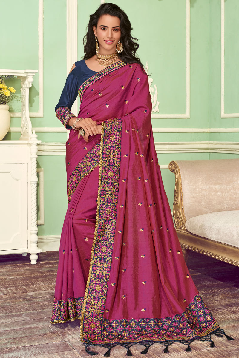 Eid Special Dark Pink Color Art Silk Function Wear Saree With Embroidery Work And Astounding Blouse