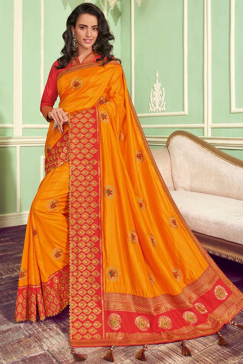 Embroidery Work On Occasion Wear Saree In Orange Color With Designer Blouse