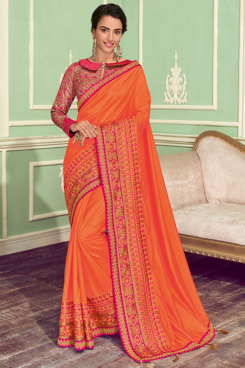 Eid Special Embroidery Work On Orange Color Designer Saree In Art Silk With Admirable Blouse