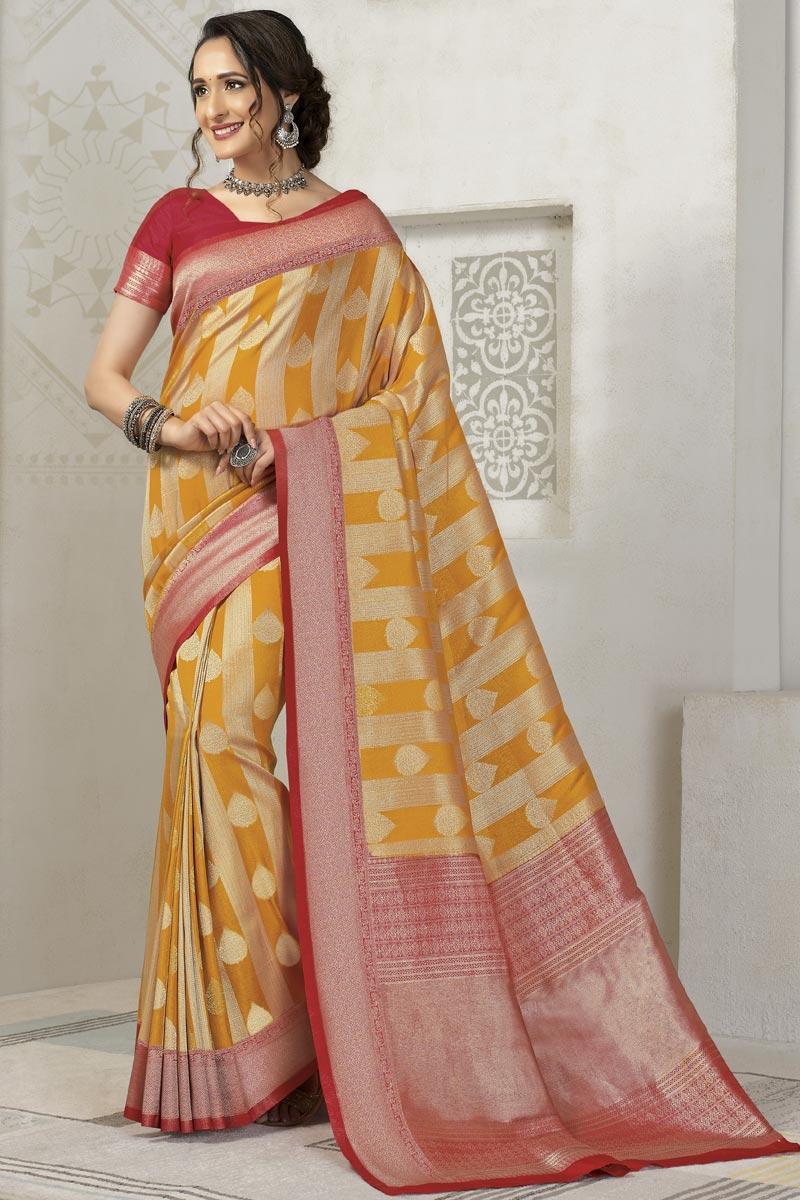 Silk Fabric Mustard Color Sangeet Wear Designer Weaving Work Saree