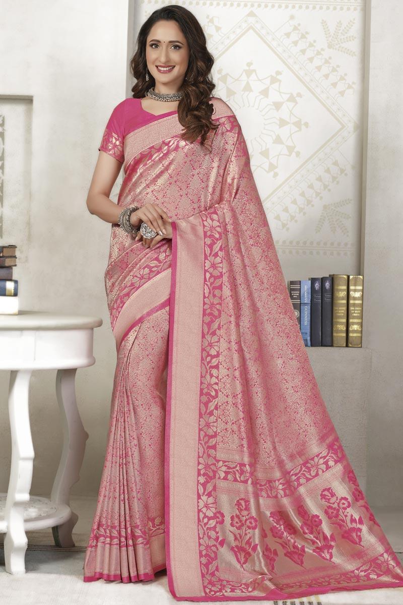 Weaving Work On Silk Fabric Sangeet Wear Designer Saree In Pink Color