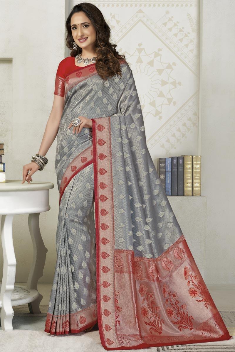Grey Color Silk Fabric Sangeet Wear Designer Weaving Work Saree