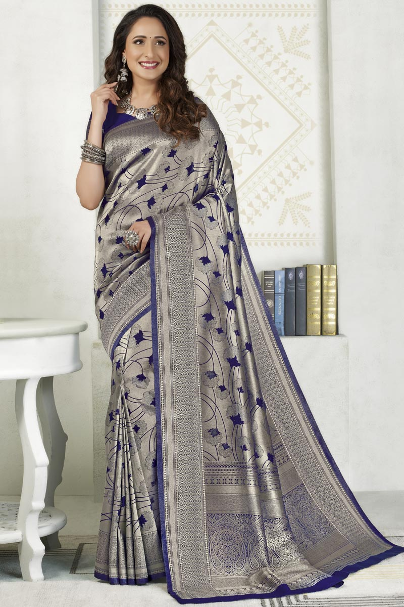 Silk Fabric Sangeet Wear Designer Grey Color Weaving Work Saree