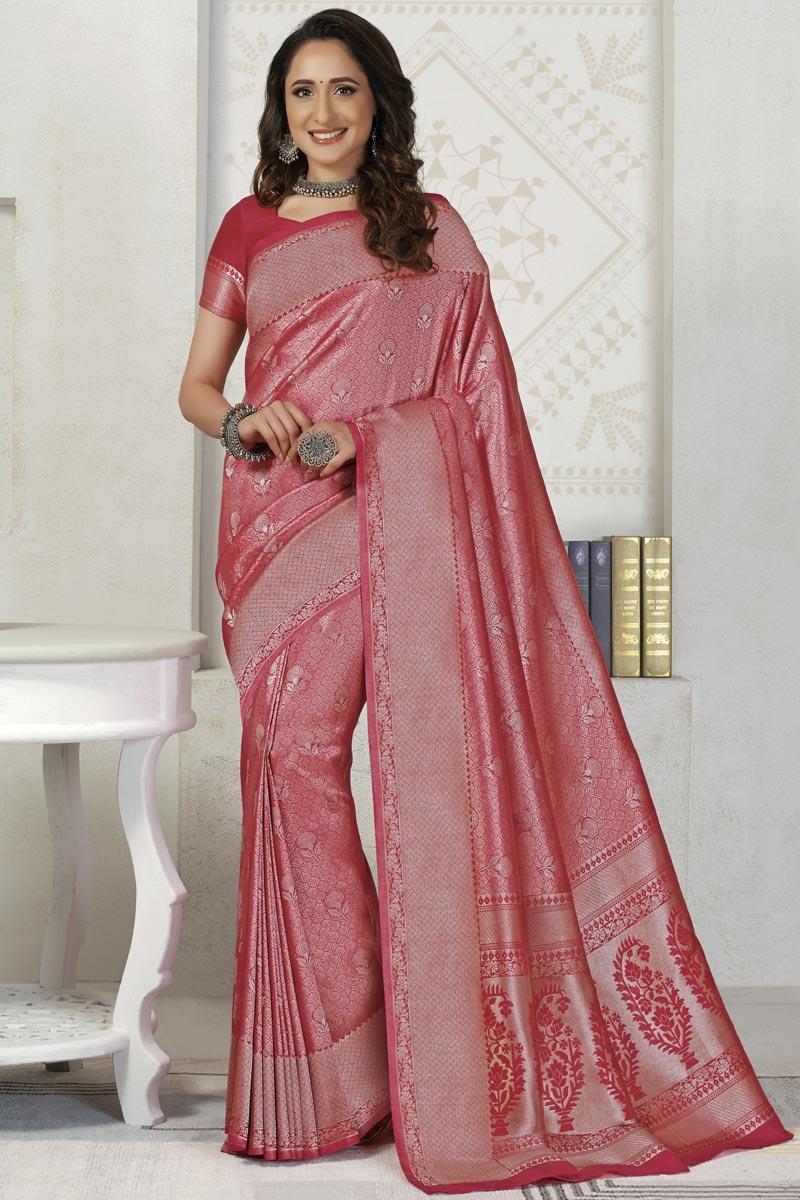 Pink Color Silk Fabric Sangeet Wear Designer Weaving Work Saree