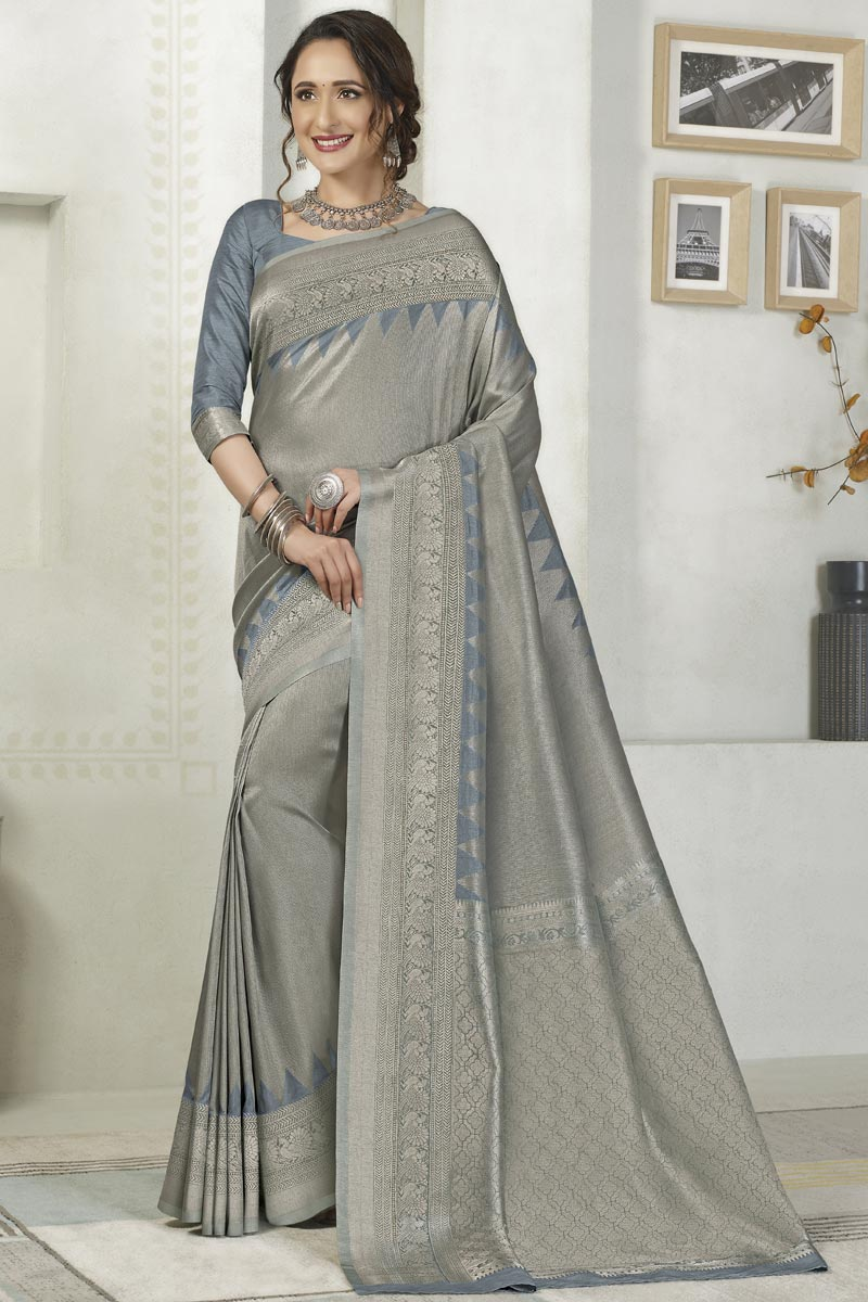 Silk Fabric Party Wear Designer Grey Color Weaving Work Fancy Saree