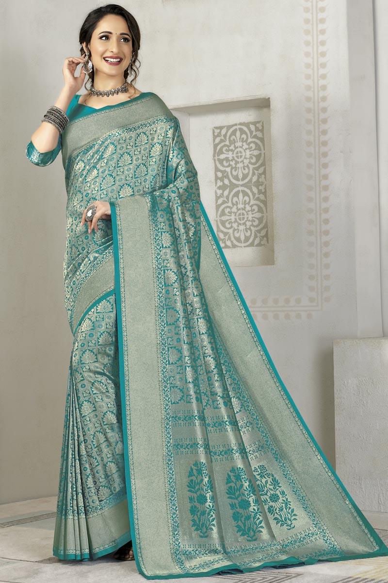 Weaving Work On Cyan Color Sangeet Wear Designer Saree In Silk Fabric