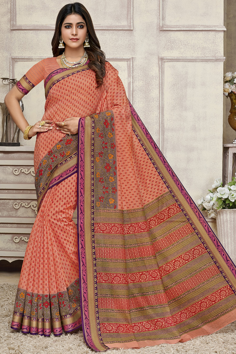 Salmon Color Fancy Printed Daily Wear Saree