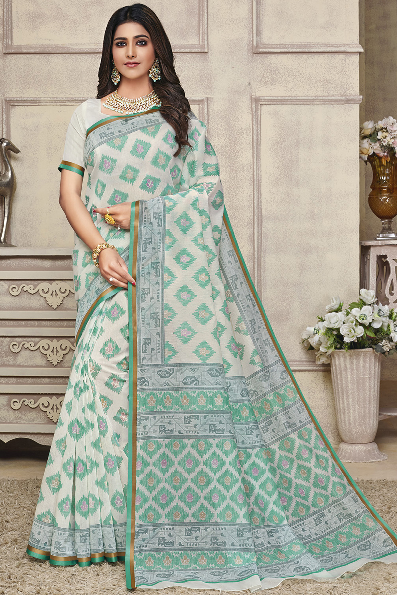 Puja Wear Printed Saree In Cotton Fabric