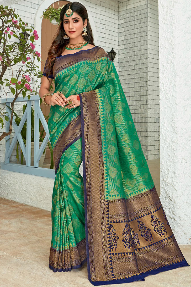 Eid Special Weaving Work On Green Color Art Silk Fabric Function Wear Saree