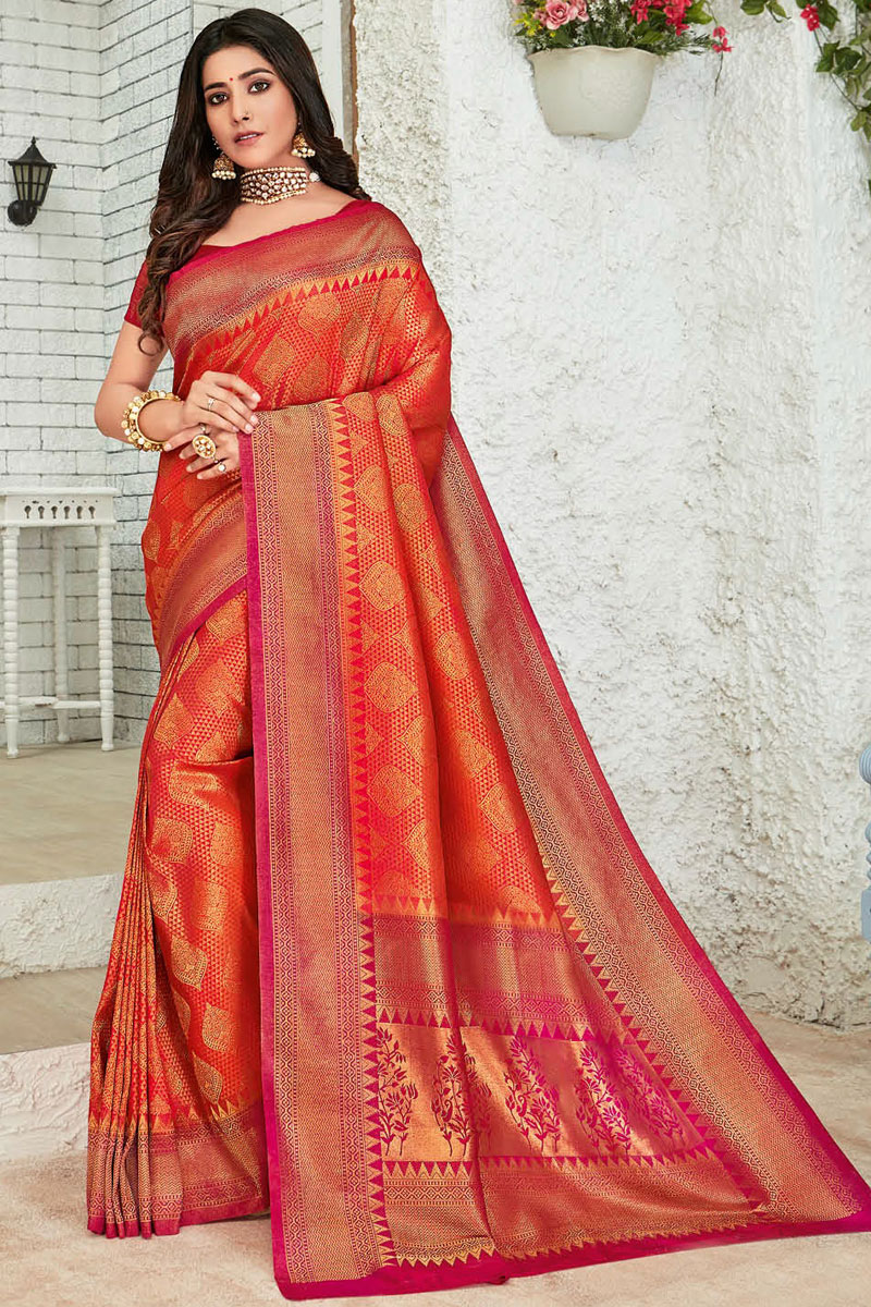 Eid Special Art Silk Fabric Red Color Designer Saree With Fancy Weaving Work